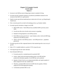 ECON 1010 Chapter Notes - Chapter 22: Real Wages, Potential Output, Workforce Productivity
