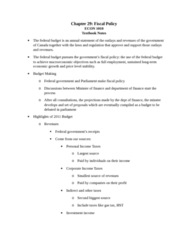 ECON 1010 Chapter Notes - Chapter 29: Government Budget Balance, Real Interest Rate, Nominal Interest Rate