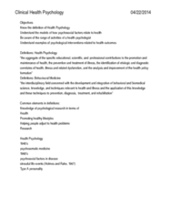 Psychology 3301F/G Lecture Notes - Lecture 6: Psychoneuroimmunology, Asthma