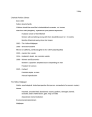E 270 Lecture Notes - Charlotte Perkins Gilman, The Yellow Wallpaper, Individualism