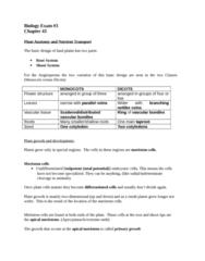 BIOL 1002 Study Guide - Final Guide: Vascular Tissue, Dicotyledon, Root Hair