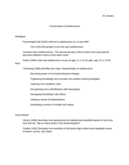 Constructions of adolescence, biological, sociocultural