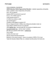 PSYC 3083 Study Guide - Avoidant Personality Disorder, Asperger Syndrome, Paranoid Schizophrenia