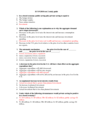 ECON 2010 Test 2 Practice Questions (got 93% on the test)