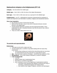 Madness From Antiquity To The Enlightenment Notes 2nd Ppt (got 94% in the course)
