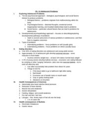 PSYC 2078 Study Guide - Quiz Guide: Developmental Psychopathology, Extreme Weight Loss, Bulimia Nervosa