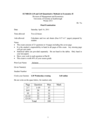 ECO220Y1 Study Guide - Final Guide: Market Research, Mutual Fund, Null Hypothesis