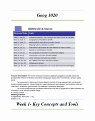 GEOG 1020 Notes for the course