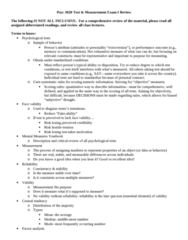 PSYC 3020 Study Guide - Midterm Guide: Central Tendency, False Positives And False Negatives, Internal Consistency