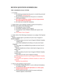 BUSI 393 Lecture Notes - Luseland, Hunting Trip, Superior Court