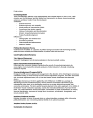POL 3115 Study Guide - Final Guide: Dependency Theory, International Trade, Walt Whitman Rostow