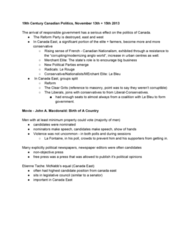 HIST260 Lecture Notes - Canadian Nationalism, Responsible Government, Clear Grits