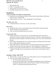HIST296 Lecture Notes - Lecture 1: Social Darwinism, Article 231 Of The Treaty Of Versailles, Benito Mussolini