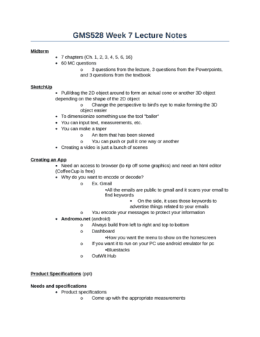 week 7 notes Math 216a notes, week 7 disclaimer: these notes are not nearly as polished (and quite possibly not nearly as correct) as a published paper please use them at your own risk.