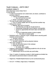 ANTH 0817 Study Guide - Quiz Guide: Social Capital, Cultural Capital, Blue-Collar Worker