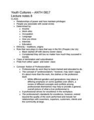 ANTH 0817 Study Guide - Symbolic Power, Work Ethic
