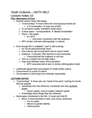 ANTH 0817 Study Guide - Midriff, Coolhunting, Social Capital