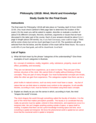 PHIL 2003 Study Guide - Final Guide: Rational Basis Review, Qualia, Neurophysiology