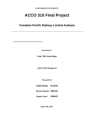 ACCO 310 Lecture Notes - Canadian National Railway, Income Statement, S&P Global