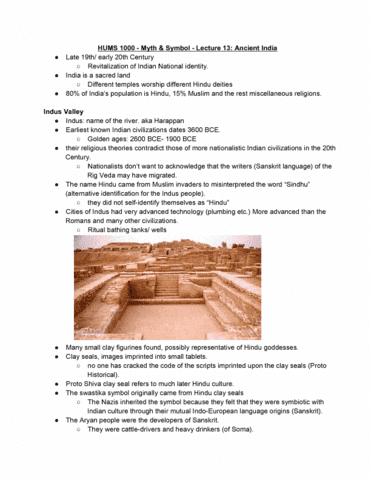 Hums1000 Myth Symbol Lecture 13 Ancient India Oneclass