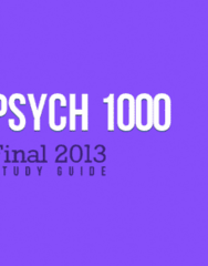 Psychology 1000 Study Guide - Final Guide: Specific Phobia, Reserpine, Agreeableness
