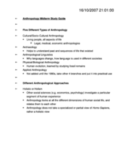 ANTH 1002 Study Guide - Midterm Guide: Franz Boas, Lewis H. Morgan, Materialism