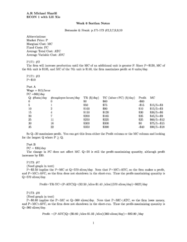 econ 207 exam 1 notes Economics 207 spring 2005 exam 2 answer key 5 f maximize profit by taking the derivative of the function in part e with respect to x, setting it equal to zero, and solving for the input level x.