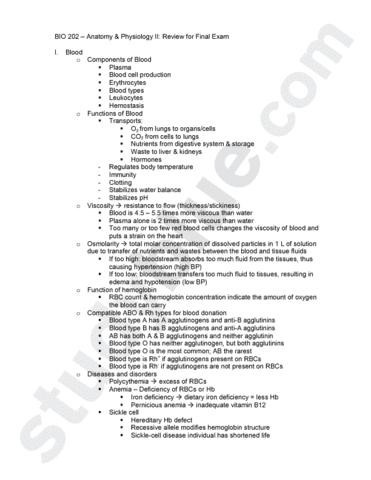 BIO 202- Final Exam Study Guide Washo.docx - OneClass