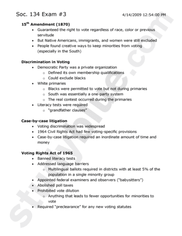 Soc 134 Study Guide Fall 2012 Midterm Civil Rights Act Of 1964