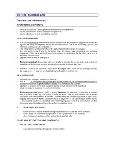 Contract Handout 4 Interpretation Discharge Etc Pdf Oneclass