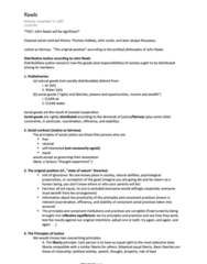 PHL 302 Study Guide - Midterm Guide: Political Philosophy, Thought Experiment, John Rawls