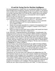 PHIL-UA 102 Study Guide - Quiz Guide: Eliza, Turing Test