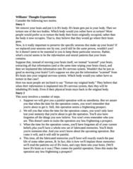 PHIL-UA 1 Quiz: Williams Thought Experiment notes