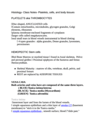 Histology- Class Notes- Platelets, cells, and body tissues (got best mark for course)