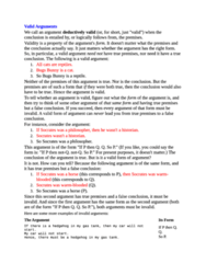 Valid Arguments notes (got over 90% in course)