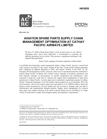 aviation spare parts supply chain management