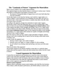 Materialism Argument notes