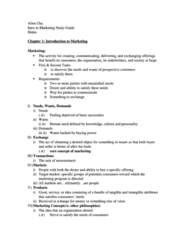 Marketing Quiz Study Guide (full and concise notes)
