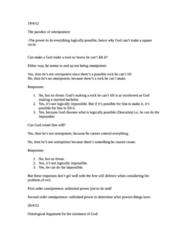 PHIL-UA 1 Study Guide - Final Guide: Intelligent Designer, Ontological Argument, Omnipotence
