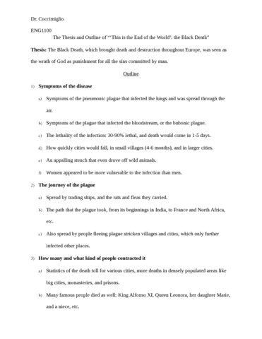 black death research paper outline