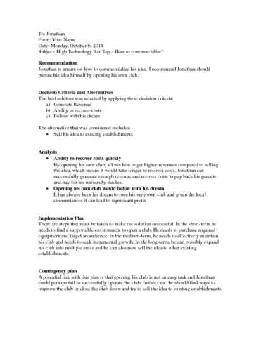 The Informal Report Example And Format Bu111 Oneclass