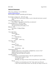ISCI 2000 Lecture Notes - Lecture 1: Significand, Electron Rest Mass, Scientific Notation