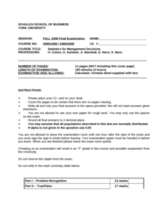 MGMT 1050 Study Guide - Final Guide: Whistler Blackcomb, Simple Linear Regression, Schulich School Of Business