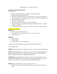 AN101 Study Guide - Kfc, Biological Anthropology, Reductionism