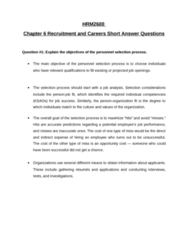 HRM 2600 Chapter Notes - Chapter 6-9: Personnel Selection, Conscientiousness, Structured Interview
