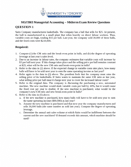 MGAB03H3 Study Guide - Midterm Guide: Activity-Based Costing, Order Processing, Fixed Cost
