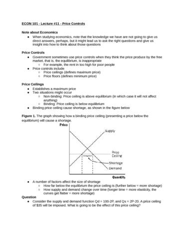ECON 101 Lecture 11 Price Controls