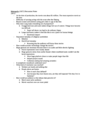 Metropolis Discussion Notes (need to read to do well)