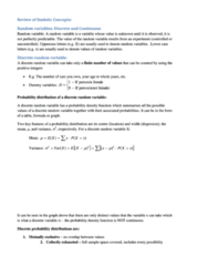 Review of Statistic Concepts (detailed notes)