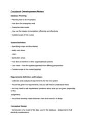 Database Development Notes